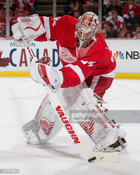 Petr Mrazek of the Detroit Red Wings controls the puck in Game Six of the Eastern Conference Quarterfinals against the Tampa Bay Lightning during the...