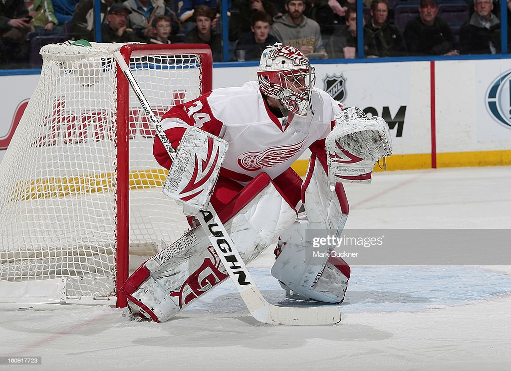 <a gi-track='captionPersonalityLinkClicked' href=/galleries/search?phrase=Petr+Mrazek&family=editorial&specificpeople=6514148 ng-click='$event.stopPropagation()'>Petr Mrazek</a> #34 of the Detroit Red Wings defends against the St. Louis Blues in an NHL game on February 7, 2013 at Scottrade Center in St. Louis, Missouri.