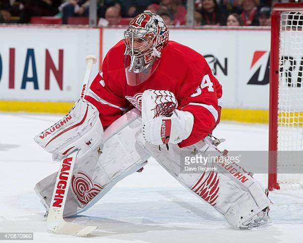 Petr Mrazek of the Detroit Red Wings follows the play against the Tampa Bay Lightning in Game Three of the Eastern Conference Quarterfinals during...