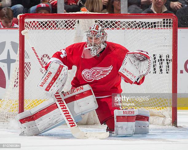 Petr Mrazek of the Detroit Red Wings follows the play during an NHL game against the Colorado Avalanche at Joe Louis Arena on February 12 2016 in...