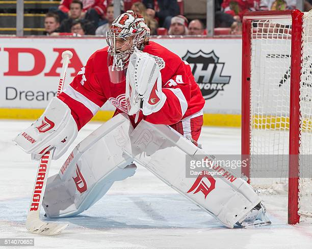 Petr Mrazek of the Detroit Red Wings follows the play during an NHL game against the Chicago Blackhawks at Joe Louis Arena on March 2 2016 in Detroit...