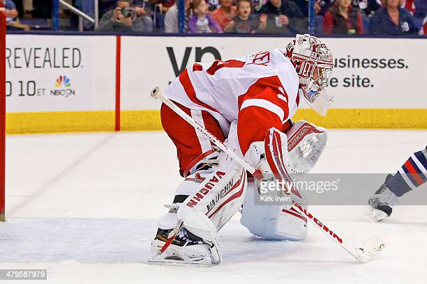 Petr Mrazek of the Detroit Red Wings follows the puck during the game against the Columbus Blue Jackets on March 11 2014 at Nationwide Arena in...