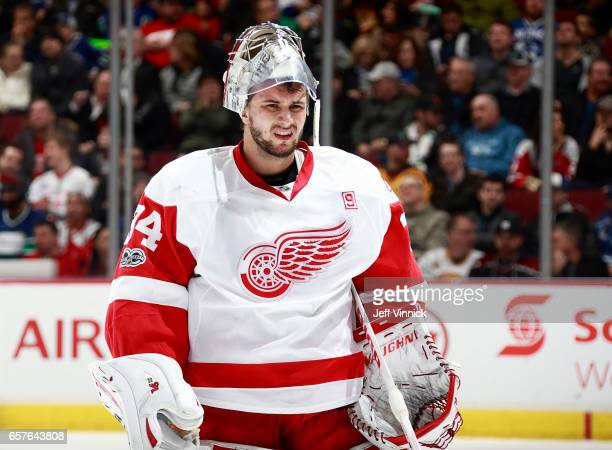 Petr Mrazek of the Detroit Red Wings looks on from his crease during their NHL game against the Vancouver Canucks at Rogers Arena February 28 2017 in...
