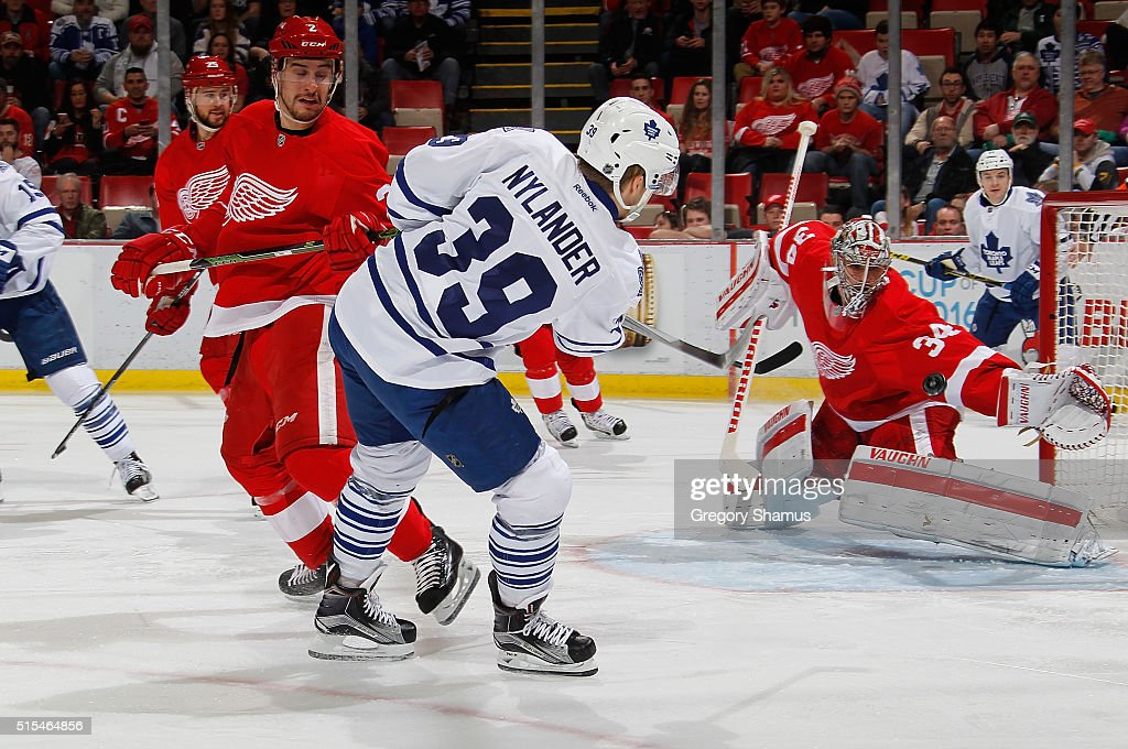 Petr Mrazek #34 of the Detroit Red Wings makes a first-period save on a shot by William Nylander #39 of the Toronto Maple Leafs at Joe Louis Arena on March 13, 2016 in Detroit, Michigan.