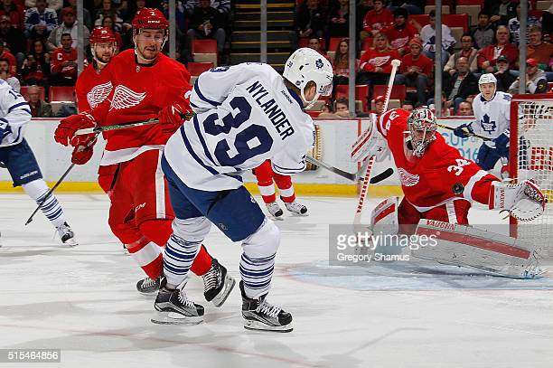 Petr Mrazek of the Detroit Red Wings makes a firstperiod save on a shot by William Nylander of the Toronto Maple Leafs at Joe Louis Arena on March 13...