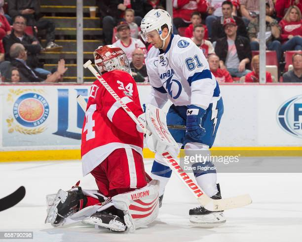 Petr Mrazek of the Detroit Red Wings makes a save as Gabriel Dumont of the Tampa Bay Lightning stops in front during an NHL game at Joe Louis Arena...