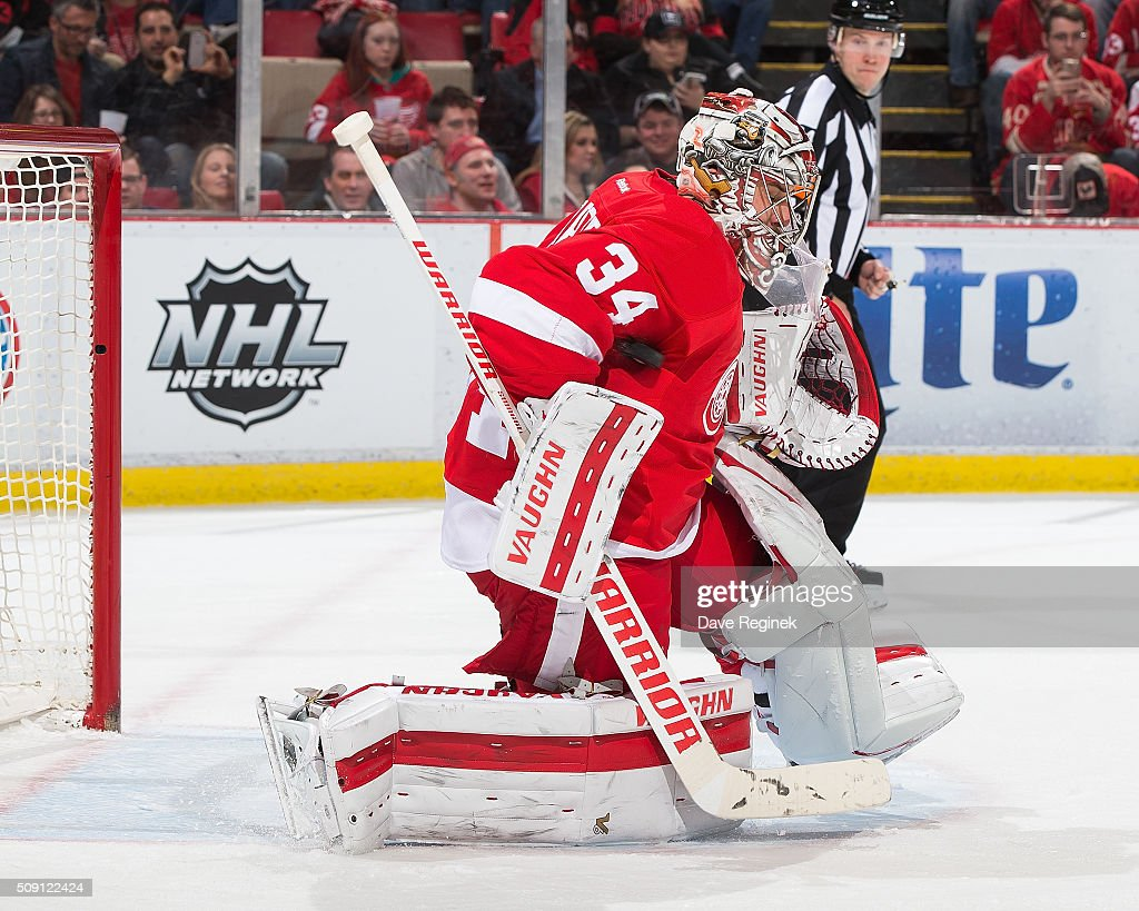 <a gi-track='captionPersonalityLinkClicked' href=/galleries/search?phrase=Petr+Mrazek&family=editorial&specificpeople=6514148 ng-click='$event.stopPropagation()'>Petr Mrazek</a> #34 of the Detroit Red Wings makes a save during an NHL game against the Florida Panthers at Joe Louis Arena on February 8, 2016 in Detroit, Michigan.