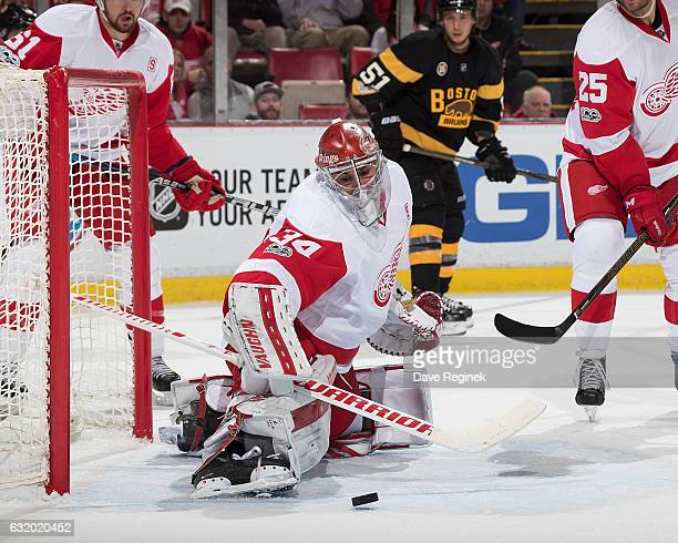 Petr Mrazek of the Detroit Red Wings makes a save during an NHL game against the Boston Bruins at Joe Louis Arena on January 18 2017 in Detroit...