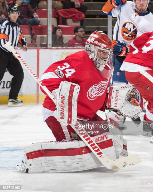 Petr Mrazek of the Detroit Red Wings makes a save during an NHL game against the New York Islanders at Joe Louis Arena on February 3 2017 in Detroit...