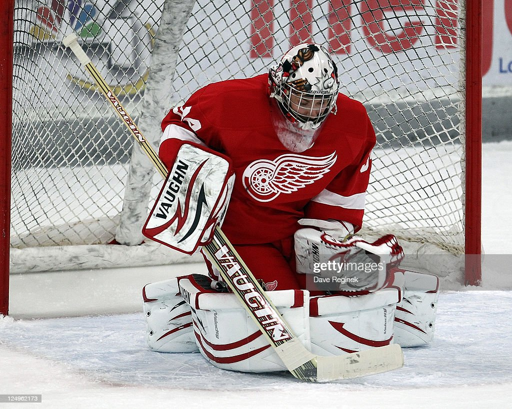 Petr Mrazek of the Detroit Red Wings makes a save during the NHL Prospects Tournament on September 14 2011 in Traverse City Michigan