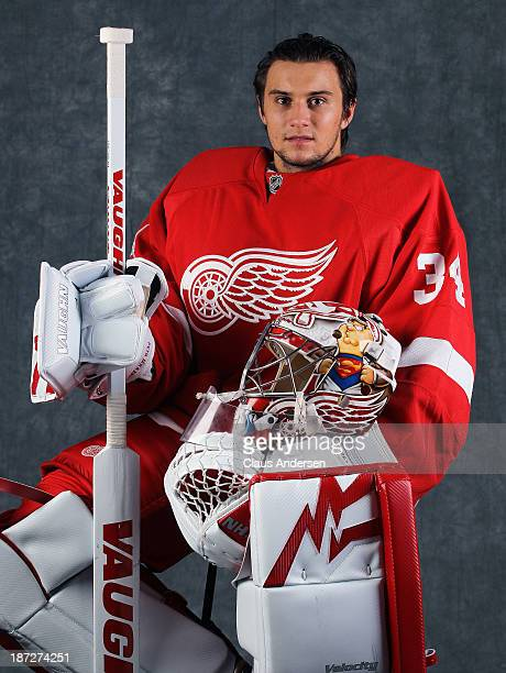 Petr Mrazek of the Detroit Red Wings poses for an NHLPA The Players Collection portrait at the Mastercard Centre on August 27 2013 in Toronto Ontario...