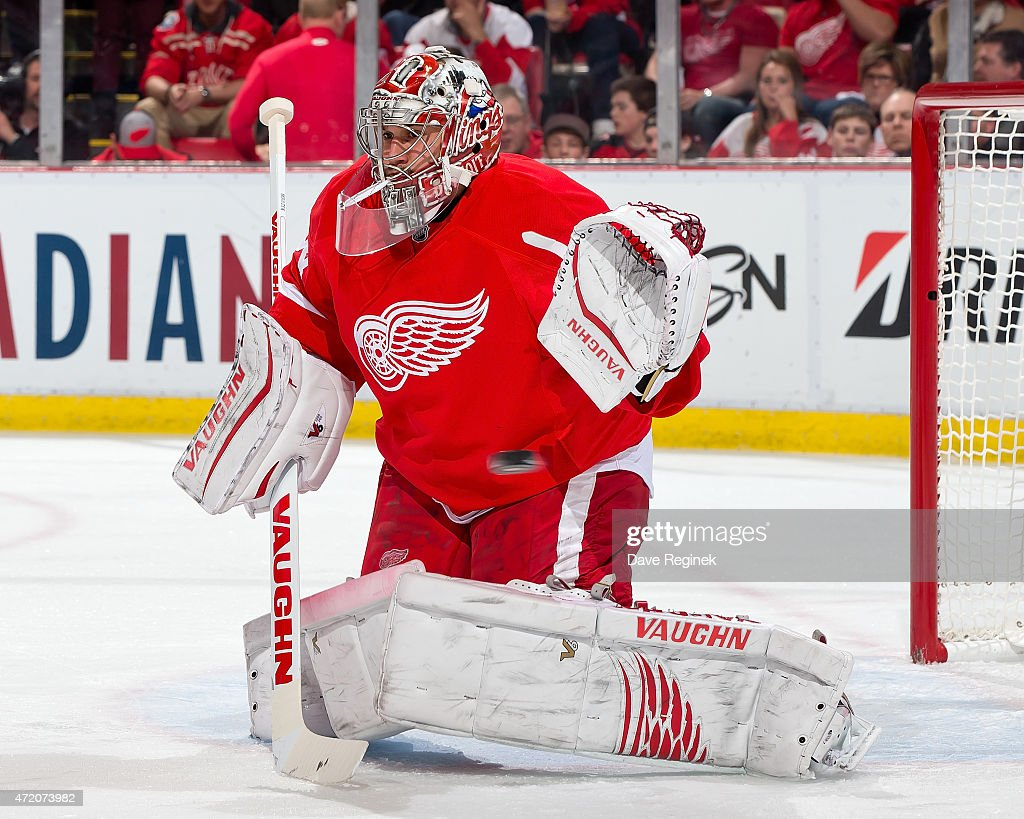 <a gi-track='captionPersonalityLinkClicked' href=/galleries/search?phrase=Petr+Mrazek&family=editorial&specificpeople=6514148 ng-click='$event.stopPropagation()'>Petr Mrazek</a> #34 of the Detroit Red Wings reacts to a shot in Game Six of the Eastern Conference Quarterfinals against the Tampa Bay Lightning during the 2015 NHL Stanley Cup Playoffs on April 27, 2015 at Joe Louis Arena in Detroit, Michigan. The Lightning defeated the Wings 5-2.
