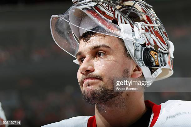 Petr Mrazek of the Detroit Red Wings skates against the New Jersey Devils at the Prudential Center on January 4 2016 in Newark New Jersey The Red...