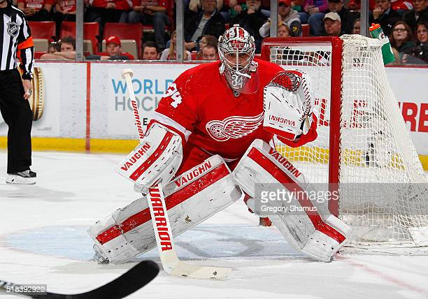 Petr Mrazek of the Detroit Red Wings skates against the Toronto Maple Leafs at Joe Louis Arena on March 13 2016 in Detroit Michigan