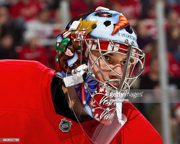 Petr Mrazek of the Detroit Red Wings skates around on a play stoppage during a NHL game against the Colorado Avalanche on December 21 2014 at Joe...