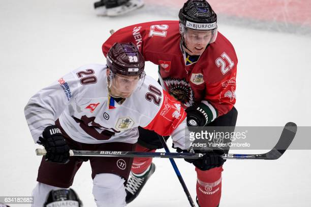 Petr Vrana of the Sparta Prague and Christoffer Ehn of the Frolunda Gothenburg battle for the puck during the Champions Hockey League Final between...