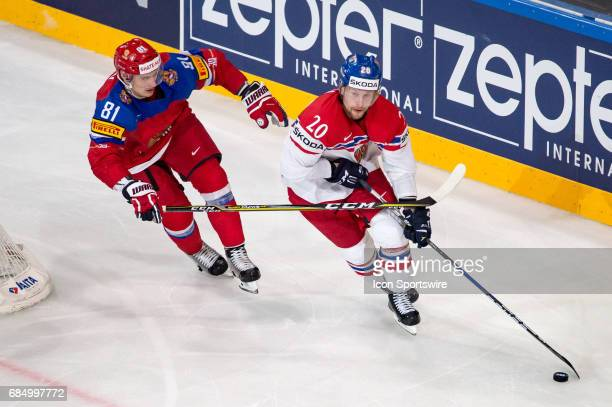 Petr Vrana vies with Dmitri Orlov during the Ice Hockey World Championship Quarterfinal between Russia and Czech Republic at AccorHotels Arena in...