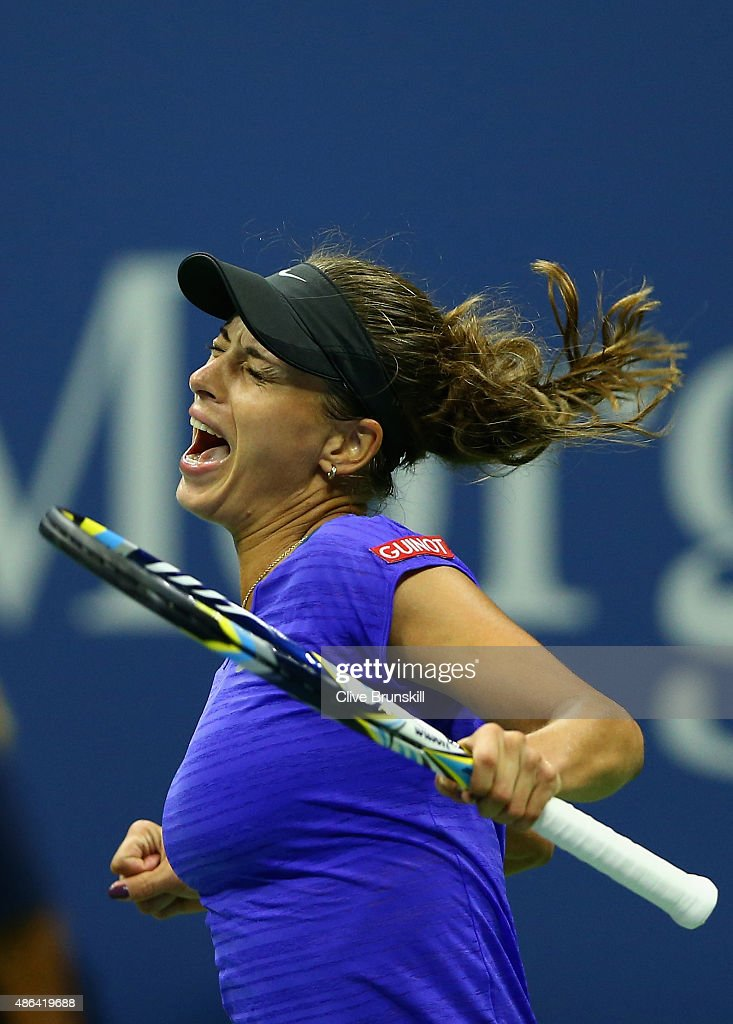 Petra Cetkovska of the Czech Republic celebrates match point against Caroline Wozniacki of Denmark in their second round match on Day Four of the 2015 US Open at the USTA Billie Jean King National Tennis Center on September 3, 2015 in the Flushing neighborhood of the Queens borough of New York City.