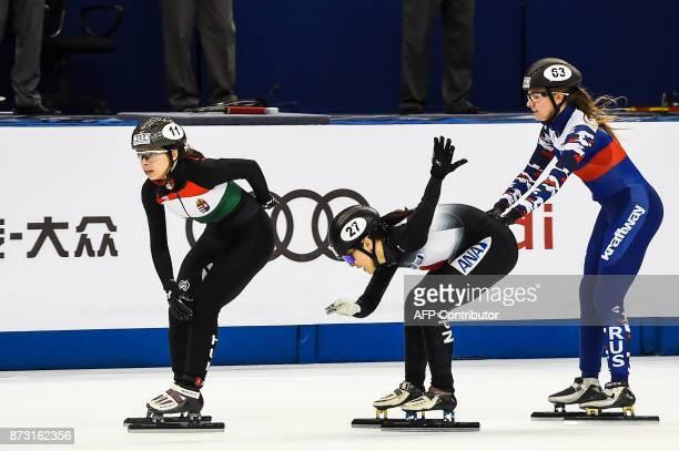Petra Jaszapati of Hungary Sumire Kikuchi of Japan and Ekaterina Efremenkova of Russia compete in the women's 3000m relay final B event at the ISU...