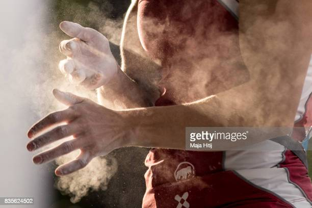 Petra Klingler of Schwitzerland competes during the women finals of the IFSC Climbing World Cup Munich on August 19 2017 in Munich Germany