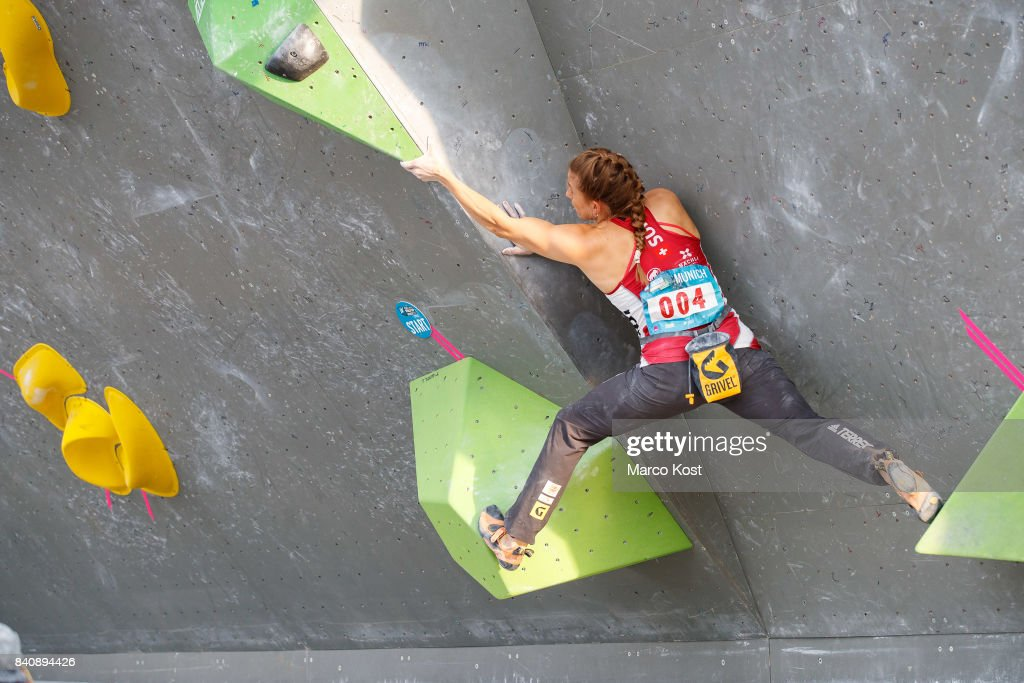Petra Klingler of Switzerland competes during the finals of the IFSC Bouldering World Cup Munich on August 19, 2017 in Munich, Germany.
