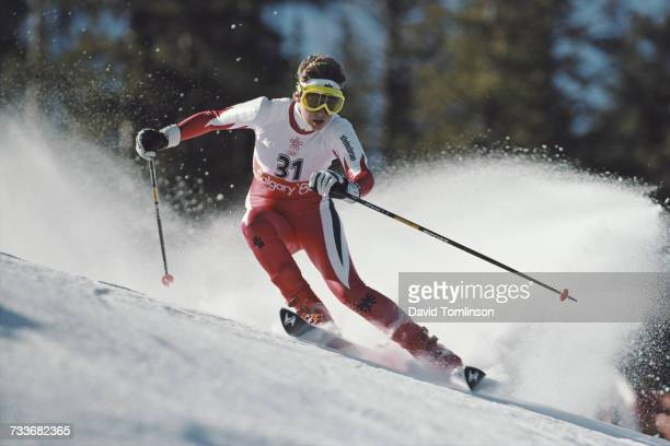 Petra Kronberger of Austria skiing in the Women's Giant Slalom event on 24 February 1988 during the XV Olympic Winter Games in Nakiska Calgary...
