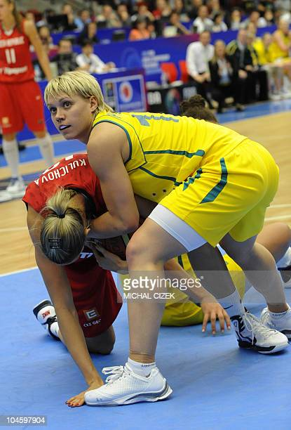 Petra Kulichova of Czech Republic fights for a ball with Erin Phillips of Australia during the quarterfinal of during the Women's FIBA World...