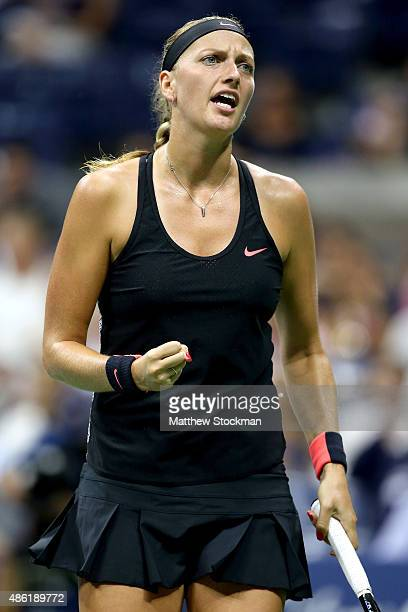 Petra Kvitova of Czech Republic celebrates a point against Laura Siegemund of Germany on Day Two of the 2015 US Open at the USTA Billie Jean King...