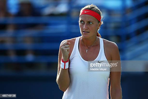 Petra Kvitova of Czech Republic celebrates a point during her match against Lucie Safarova of Czech Republic during the final round on Day 6 of the...