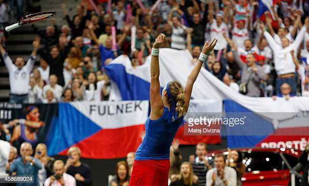 Petra Kvitova of Czech Republic celebrates after match against Angelique Kerber of Germany during day two of the Fed Cup final between Czech Republic...