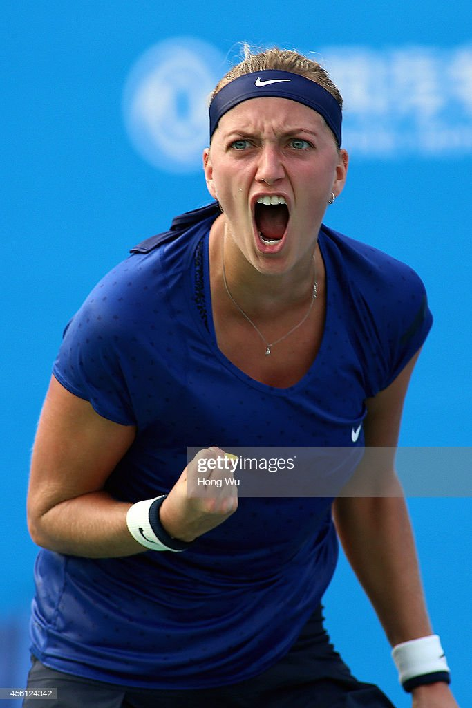 Petra Kvitova of Czech Republic celebrates after the match against Elina Svitolna of Ukraine on day six of 2014 Dongfeng Motor Wuhan Open at Optics...