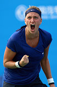 Petra Kvitova of Czech Republic celebrates after the match against Elina Svitolna of Ukraine on day six of 2014 Dongfeng Motor Wuhan Open at Optics...