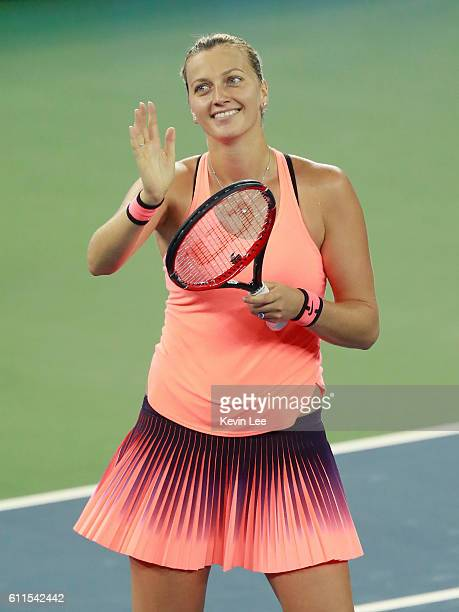 Petra Kvitova of Czech Republic celebrates after winning the semifinal match against Simona Halep of Romania on day 6 at Optics Valley International...