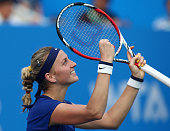 Petra Kvitova of Czech Republic celebrates after won the final match against Eugenie Bouchard of Canada on day seven of 2014 Dongfeng Motor Wuhan...