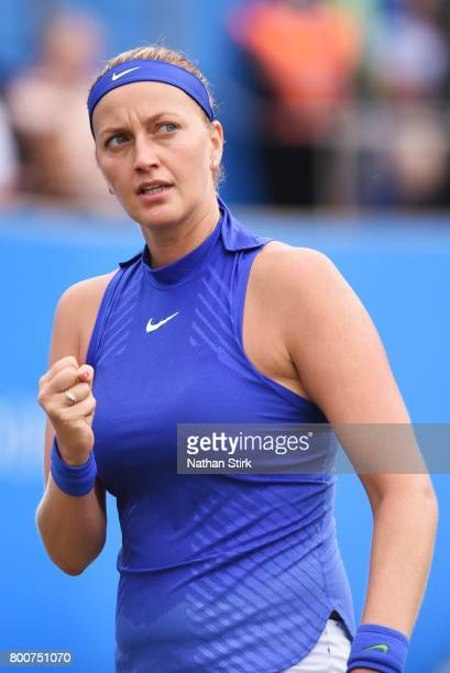Petra Kvitova of Czech Republic celebrates during the final match against Ashleigh Barty of Australia on day seven of The Aegon Classic Birmingham at...