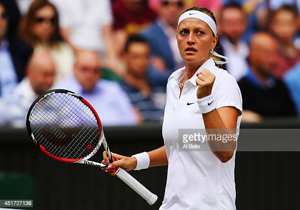 Petra Kvitova of Czech Republic celebrates during the Ladies' Singles final match against Eugenie Bouchard of Canada on day twelve of the Wimbledon...