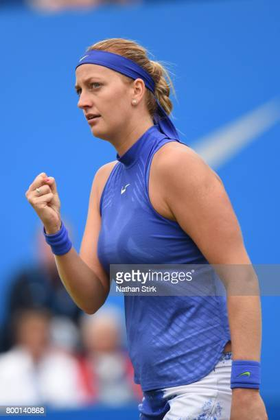 Petra Kvitova of Czech Republic celebrates during the quarter final match against Kristina Mladenovic of France on day five of The Aegon Classic...