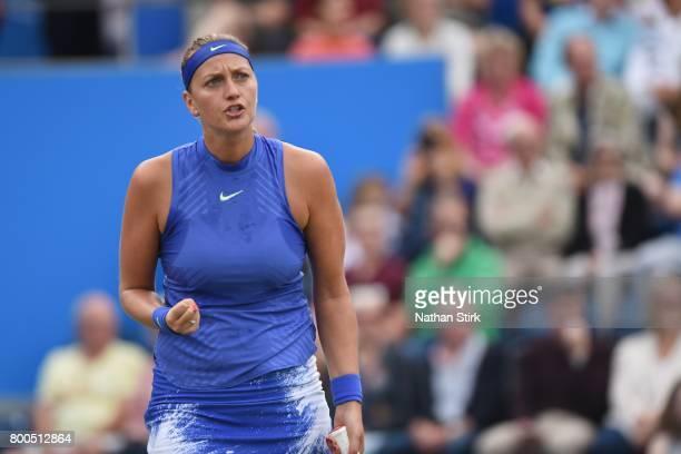 Petra Kvitova of Czech Republic celebrates during the semi final match against Lucie Safarova of Czech Republic on day six of The Aegon Classic...
