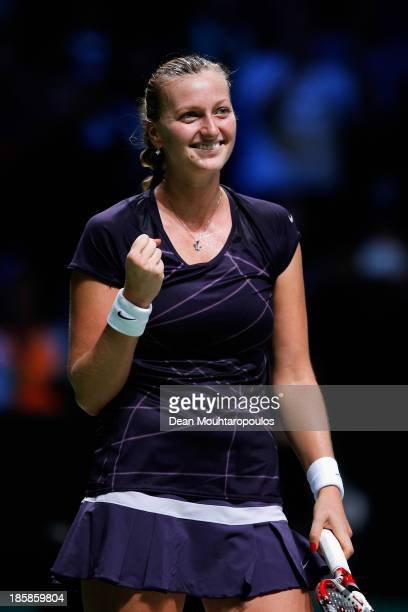 Petra Kvitova of Czech Republic celebrates victory over Angelique Kerber of Germany during day four of the TEB BNP Paribas WTA Championships at the...