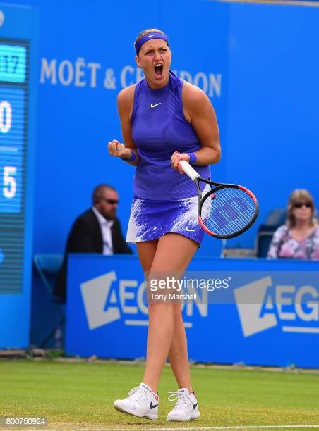 Petra Kvitova of Czech Republic celebrates winning a point against Ashleigh Barty of Australia during the Aegon Classic Birmingham Final at Edgbaston...