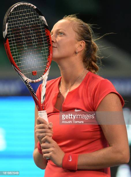 Petra Kvitova of Czech Republic during her women's singles semi final match against Venus Williams of the United States during day six of the Toray...