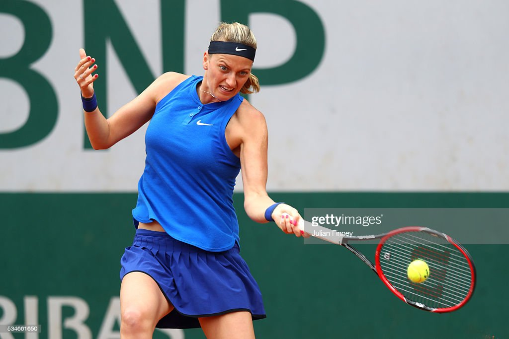 Petra Kvitova of Czech Republic hits a forehand during the Ladies Singles third round match against Shelby Rogers of the United States on day six of the 2016 French Open at Roland Garros on May 27, 2016 in Paris, France.