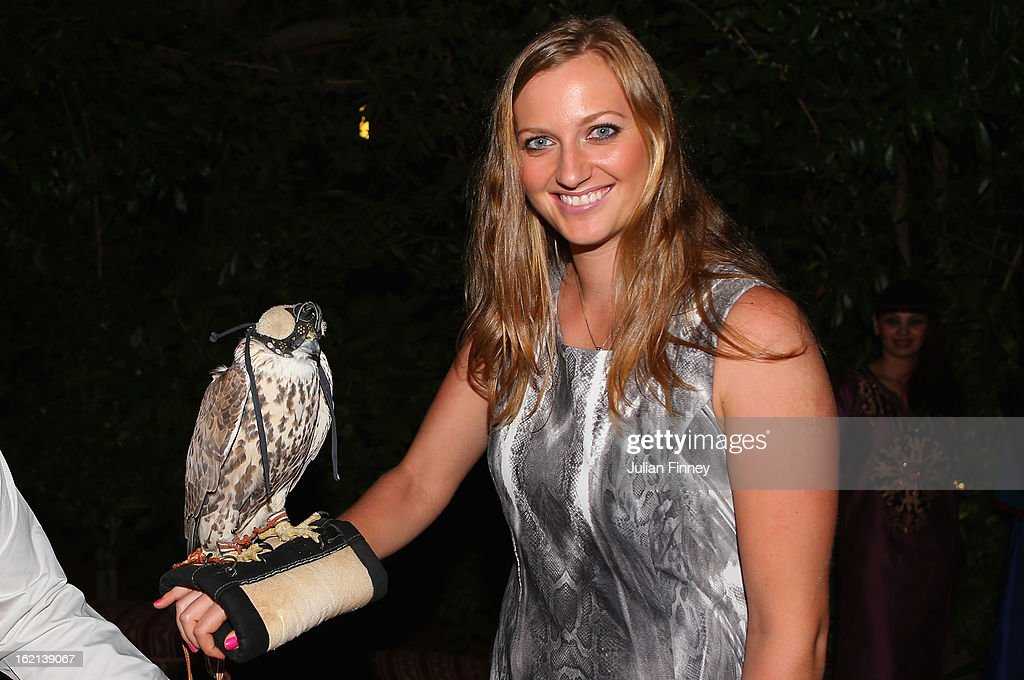 Petra Kvitova of Czech Republic holds a falcon at the players party during day two of the WTA Dubai Duty Free Tennis Championship on February 19, 2013 in Dubai, United Arab Emirates.