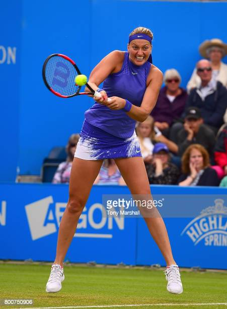 Petra Kvitova of Czech Republic in action against Ashleigh Barty of Australia during the Aegon Classic Birmingham Final at Edgbaston Priory Club on...