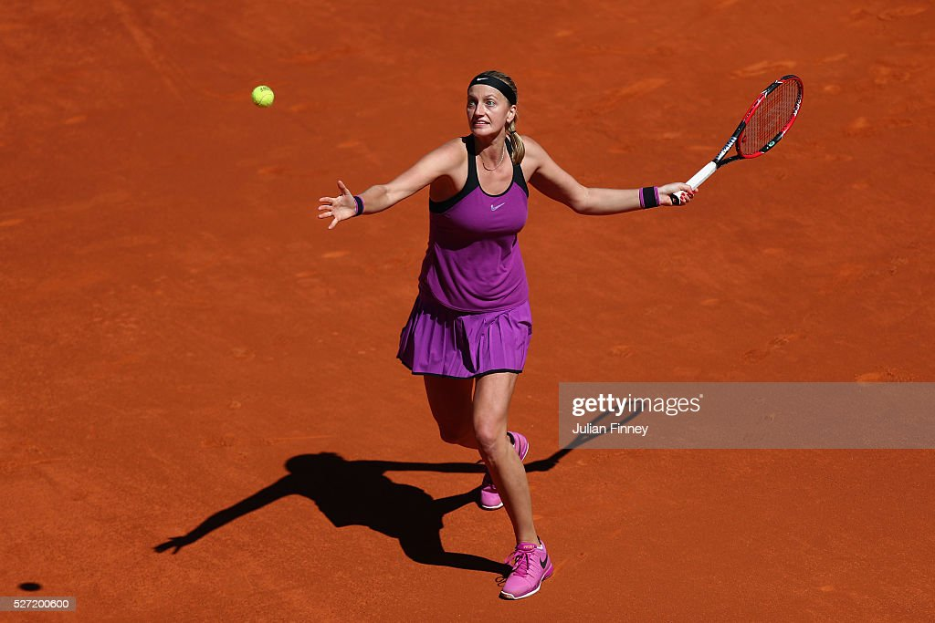 Petra Kvitova of Czech Republic in action against Elena Vesnina of Russia during day three of the Mutua Madrid Open tennis tournament at the Caja...