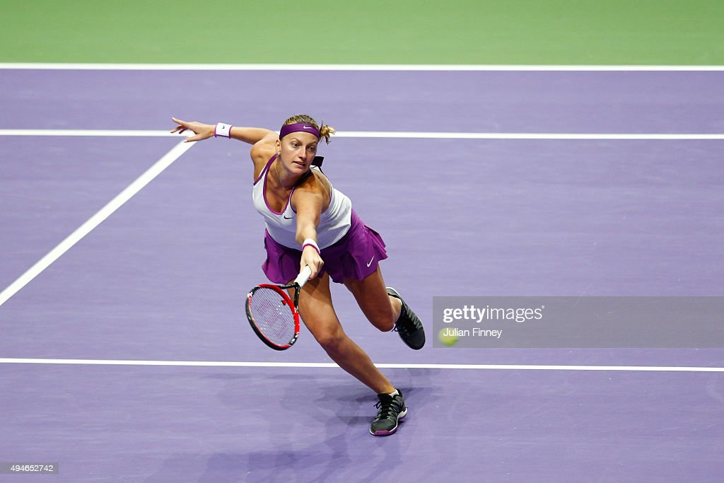 Petra Kvitova of Czech Republic in action against Lucie Safarova of Czech Republic in a round robin match during the BNP Paribas WTA Finals at...