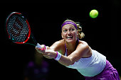 Petra Kvitova of Czech Republic in action against Maria Sharapova of Russia in the semifinal match of the BNP Paribas WTA Finals at Singapore Sports...