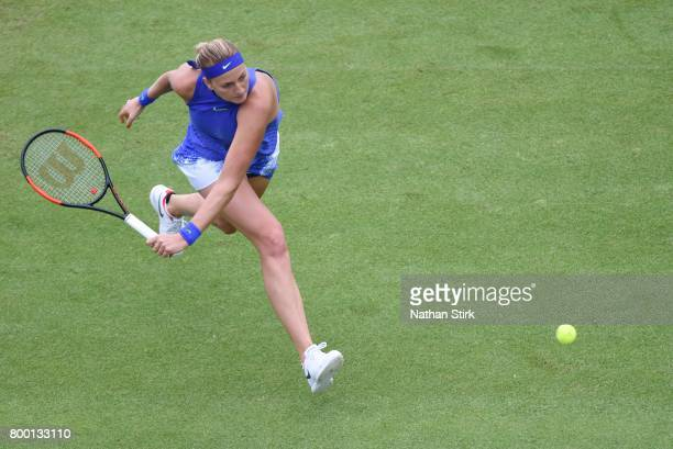 Petra Kvitova of Czech Republic in action during the quarter final match against Kristina Mladenovic of France on day five of The Aegon Classic...