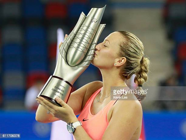 Petra Kvitova of Czech Republic kiss her trophy at the award ceremony after winning the Women's Single Final match of 2016 Dongfeng Motor Wuhan Open...