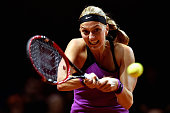 Petra Kvitova of Czech Republic plays a backhand in her match against Louisa Chirico of the United States during Day 2 of the Porsche Tennis Grand...